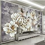 Peinture murale Résumé Papier Peint Personnalisé 3D Style Européen Rétro Peint À La Main Fleur Floral Mural Salon Chambre TV Fond Photo Papier Peint-250 X 200CM