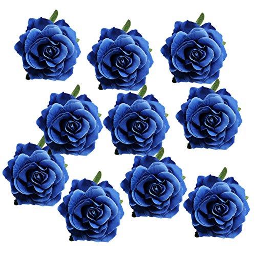 e Köpfe Künstliche Seiden Wohnaccessoires Deko Kunstblumen Garten Dekoration DIY - rose dunkelblau, wie beschrieben ()