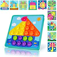 NextX Mushroom Nails DIY Jigsaw Puzzle Game Button Art Pegboard Learning Educational Toys Colourful Building Bricks Gift for Toddler Boys & Girls