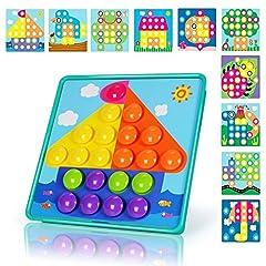 Idea Regalo - NextX Puzzle 3D a Bottoni a Forma Cappello dei Funghi - Giocattolo a Chiodini Educativo Prima Infanzia - Regalo Ideale per Bambini 3+ Anni