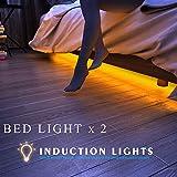 HonestEast Bett Licht, LED-Streifenlicht Bewegung aktivierte LED-Lichtleiste Auto Ein/Aus Bewegungsmelder Nachttischlampe 2 Sensor Kit(warmweiß, 4FT)