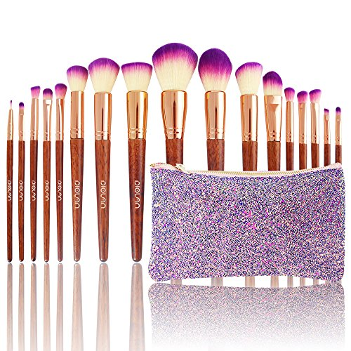 Diolan Makeup Brush Set 17Pcs Professional Beauty Brushes for Foundation Powder Concealer Lip Eye Blush Face Cosmetic Kit Soft Synthetic Fiber and Vegan Bristles Wooden Handle with Glittering Travel Bag Purple