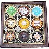 Shri Navgrah Shakti Yantra SHRI NAVGRAH Yantra/NAVGRAH Pooja CHOWKI - 4 x 4 inch (puja Article) Vastu Dosh Nashak SHRI NAVGRAH Yantra/NAVGRAH Pooja CHOWKI in Wood