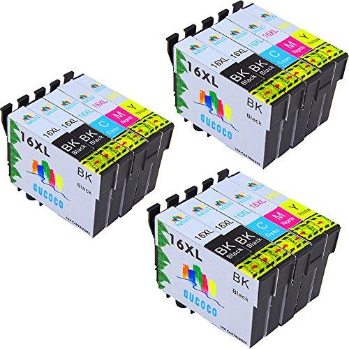 GUCOCO Hohe Kapazität 15 Multipack Packung Epson 16 XL Kompatible Tintenpatronen für Epson...