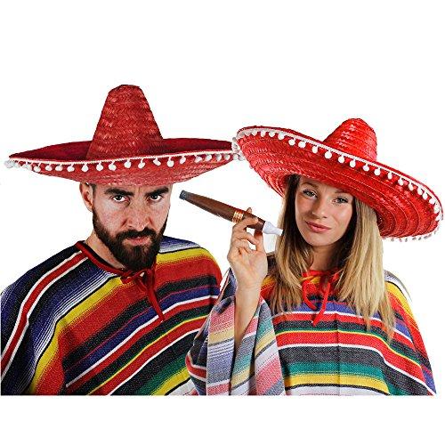 ILOVEFANCYDRESS Mexikaner Paar KOSTÜM VERKLEIDUNG = 2 Ponchos+2 SOMBREROS+2 Dicke Plastik ZIGARREN+ 2 MEXIKANISCHE SCHNURRBÄRTE=Fasching Karneval=ROTE SOMBREROS