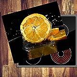 decorwelt Ceranfeldabdeckung 60x52 cm Herdabdeckplatten 1 Teilig Elektroherd Induktion Herdschutz Deko Glasplatte Schneidebrett Sicherheitsglas Spritzschutz Glas Orange