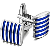 Peora Unique Stripes Shirt Cufflinks for Men Business Corporate Gift