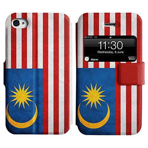 Graphic4You Vintage Uralt Flagge Von Hong Kong Flag Design Leder Schützende Display-Klappe Brieftasche Hülle Case Tasche Schutzhülle für Apple iPhone 4 und 4S Malaysia Malaysier