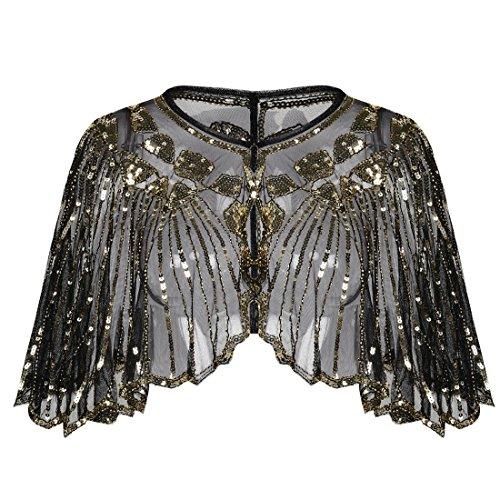 PrettyGuide Damen Stola Abendkleid Perlen Pailletten Art Deco 20er Jahre Schal Gold