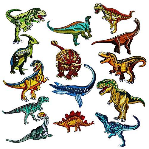, Patches zum Aufbügeln Dinosaurier Aufnäher Applikation Flicken Zum Aufbügeln für DIY T-Shirt Jeans Kleidung Taschen,Flicken Patches Denim Baumwolle Patches Bügeleisen (14 Stück) ()
