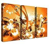 LanaKK – Luxus Ausführung – Leinwandbild Blüten Graf Orange abstraktes Design auf 4cm Echtholz-Keilrahmen – Fotoleinwand-Kunstdruck in orange, dreiteilig & fertig gerahmt in 150x100cm