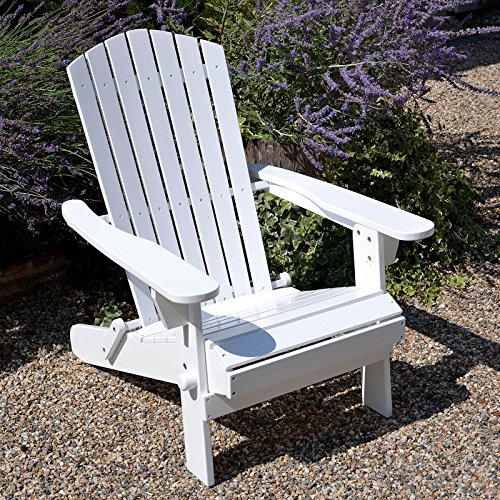 Plant Theatre Adirondack Klappstuhl Hartholz Stuhl-weiß lackiert-Hervorragende Qualität (Patio-stuhl-seat-kissen-set)