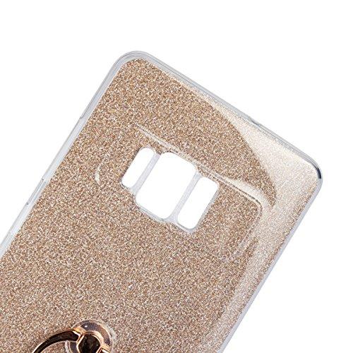 Meimeiwu 2 in 1 Ultra Slim TPU Bumper Back Cover Case Custodia With 360 Degree Rotating Ring per Asus ZenFone 2 Laser ZE550KL 5.5 - Blu Oro