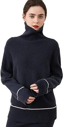 Greenf Autunno/Inverno 2020 Donne Alto Lapel 100% Maglione di Cashmere Ispessito Corto Pullover Allentato