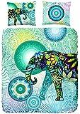Hip Housse de couette Explorer 100% coton/satin avec motif éléphant, pour Lit King Size, Multicolore