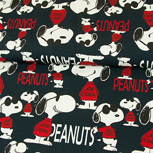 Stoffe Werning Baumwolljersey Lizenzstoff Peanuts Snoopy Joe Cool Marine Kinderstoffe GOTS - Preis Gilt für 0,5 Meter