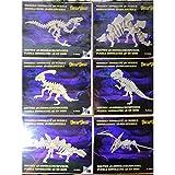 6er Set 3D Holz Puzzles Dinosaurier Dinos Bausatz Urzeit Tiere Mitgebsel Kinder