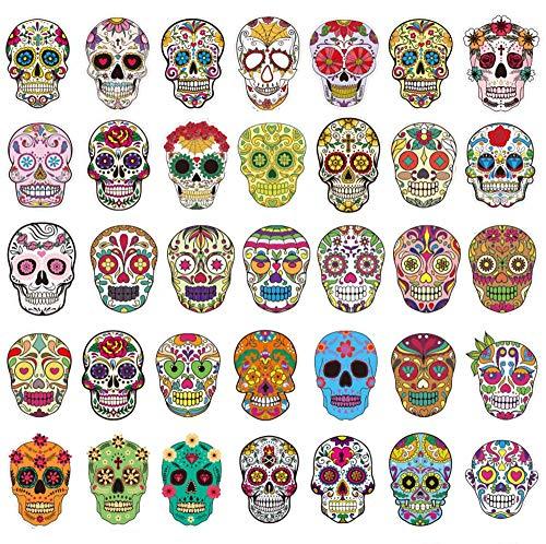 Sanmatic Sugar Skull Sticker Pack [50 Stück], Aufkleber Graffiti Skateboard Aufkleber Laptop Cartoon Gepäck Aufkleber