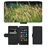 PU Leder Wallet Case Folio Schutzhülle // M00153882 Grassamen Goldene Samen Lange Seeds // Amazon Fire Phone