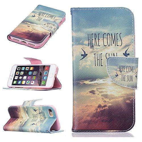 Ooboom® iPhone 8 Plus/iPhone 7 Plus Hülle Flip PU Leder Schutzhülle Tasche Case Cover Wallet Standfunktion mit Kartenfächer Bargeld Aussparrung für iPhone 8 Plus/iPhone 7 Plus - Bär Here Comes the Sun
