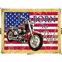 hotrodspirit – Placa moto bandera USA Born To Ride tole Metal Pub garaje