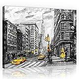 Welt-der-TräumeWANDBILD CANVASBILD Wandbild Leinwandbild Kunstdruck Canvas   New York   O1 (100cm. x 75cm.)   Canvas Picture Print PP11469O1-MS   Stadt New York Taxi Malerei Gebäude