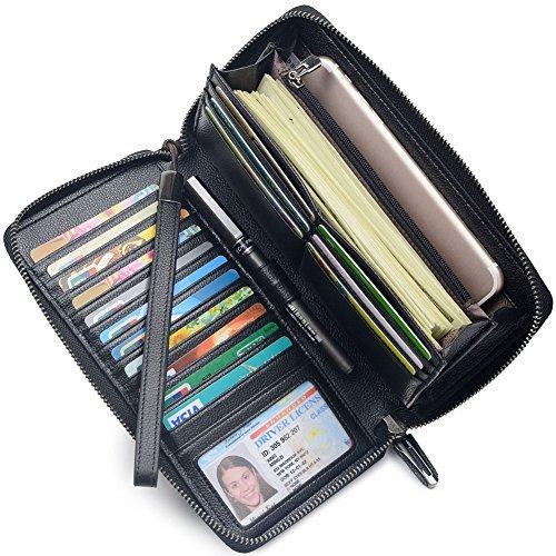 Bveyzi Frauen RFID Blockieren Brieftasche Leder Zip Um Kupplung Große Reise Tasche Handschlaufe Schwarz