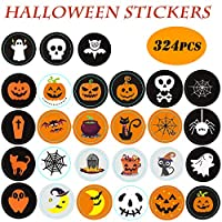 KAISHANE Halloween Stickers with Pumpkin Ghost Witch Assorted Patterns for Party Decor Cookie Bags Stickers 324Pcs Halloween Novelty and Jack O Lantern Self Adhesive Stickers