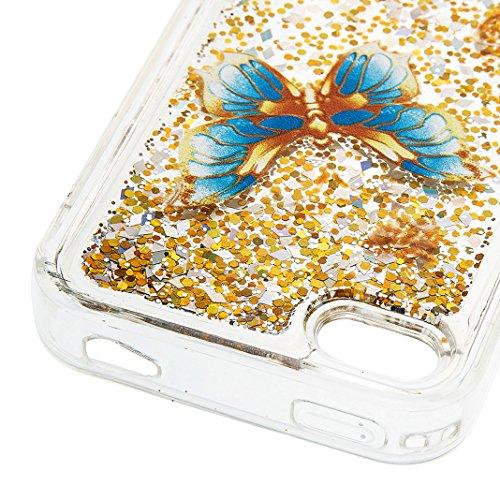 iPhone 4/4S Hülle OuDu Silikon Funkeln Schutzhülle [Flüssig Hülle] Transparente Flexibel Schlank Hülle **NEW** Treibsand Bling Hochwertiges TPU Abdeckung Glatte Leichte Tasche Soft Silicone Case Cover Blauer Schmetterling