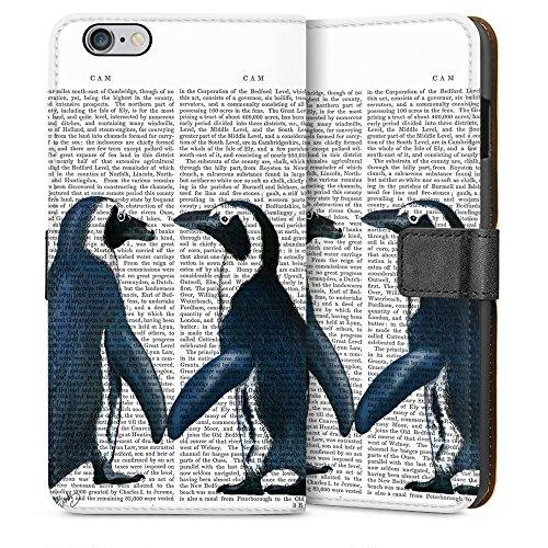 """artboxONE Handyhülle Apple iPhone 4s, weiß Downflip-Case Handyhülle """"Pinguinliebe Case"""" - Tiere - Smartphone Downflip Case mit Kunstdruck von FabFunky Sideflip Case weiß"""