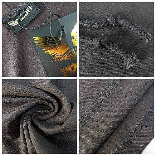 Whatlees Herren Basic reguläre Passform Kapuzenpullover aus weiches Jersey B025-darkgray