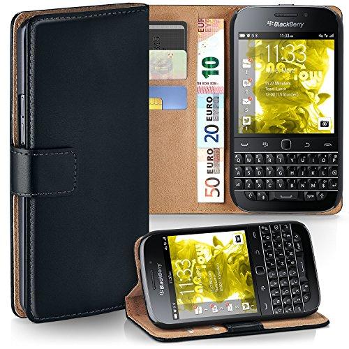 moex BlackBerry Classic | Hülle Schwarz mit Karten-Fach 360° Book Klapp-Hülle Handytasche Kunst-Leder Handyhülle für BlackBerry Classic Q20 Case Flip Cover Schutzhülle Tasche