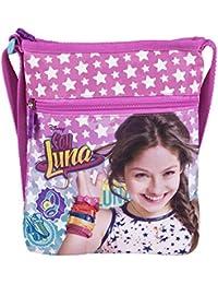 Perletti Umhängetasche für Mädchen mit Motiven aus Disney Soy Luna - Kleine Umhänge für Kinder mit Frontverschluss - Rosa Tasche für Reisen und Freizeit - 21x18 cm