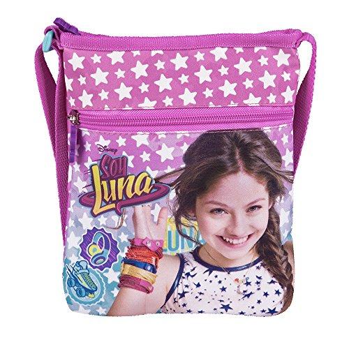 Bolso Bandolera de Niña con Estampado Disney Soy Luna - Practica Bolsa Cruzada de Viaje y para el Ocio - Bolso de Hombro con Cierre Frontal de Color Azul y Rosa - 21x18 cm - Perletti