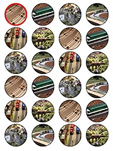X24 1.5 Inch Model Train And Railway Birthday Cup Cake Toppers Decorations On Edible Rice Paper