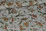 1 m * 1,50 m Jersey Stoff - Blumenranken grün oliv Blumen