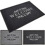 PROHEIM Fußmatte Welcome 40 x 60 cm Schmutzfangmatte Fußabstreifer Fußabtreter aus Baumwolle und Gummi - langlebig und robust, Farbe:Anthrazit