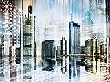 Artland Qualitätsbilder I Glasbilder Deko Glas Bilder 80 x 60 cm Städte Deutschland Frankfurt am Main Digitale Kunst Blau D1FZ Frankfurt Skyline