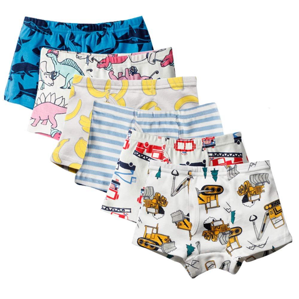 61pfBEzGZwL - Anntry Ropa Interior para niños pequeños de algodón Suave Calzoncillos de Bóxer Surtidos para niños pequeños Edad 2-7 años (Paquete de 6)