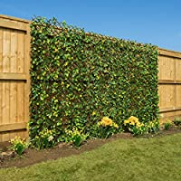 Christow Artificial Leaf Hedge Screening Garden Expanding Privacy Screen Flowers 1m x 2m