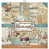 STAMPERIA SBBS12 Around the World - Bloc de papel (10 hojas, 20,3 x 20,3 x 8 pulgadas, doble cara), multicolor