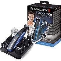 Remington GroomKit Lithium PG6160, Stylingset für Gesichts- und Körperhaare, 5 abnehmbare Aufsteckköpfe, schwarz/blau