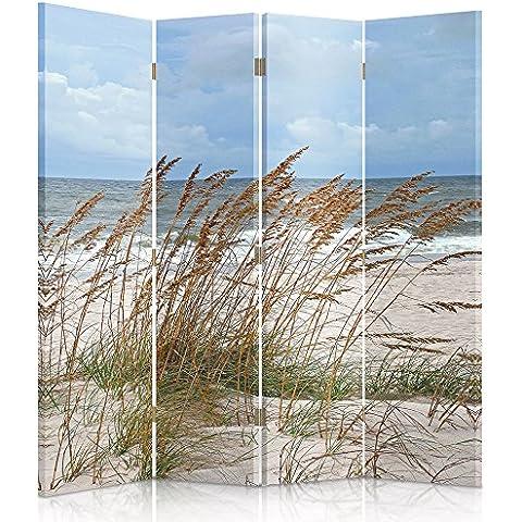 Feeby Frames Biombo impreso sobre lona, tabique decorativo para habitaciones, a doble cara, de 4 piezas (145x180 cm), HIERBA, PLAYA, MAR, BLANCO, AZUL