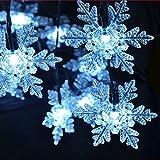 LED Solar Lichterkette 24 Schneeflocken Weihnachten Außenbeleuchtung Dekoration