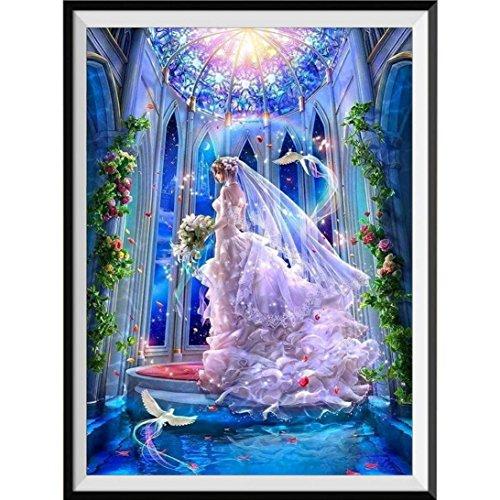 Riou DIY 5D Diamant Painting voll,Stickerei Malerei Crystal Strass Stickerei Bilder Kunst Handwerk für Home Wand Decor gemälde Kreuzstich Prinzessin Die Braut Bild Muster (Mehrfarbig, 30 * 40cm) -