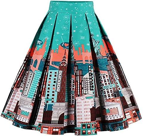 Eudolah Women's Vintage Floral Swing Full Circle Pleated Skirts Blue
