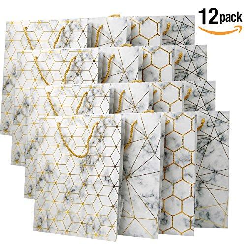 Bolsos medianos del regalo - bolso de papel de las compras de la Navidad de 12 PC, bolsos del regalo del cumpleaños del partido [30 x 32 x 12 cms]
