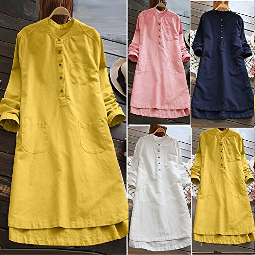 Damen Retro Langes beiläufiges Kleid Lose Knopf Tops Bluse Mini Shirt Kleid