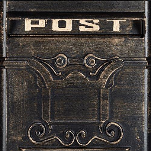 Relaxdays Standbriefkasten Antik HBT: 106 x 38 x 34 cm nostalgischer Säulenbriefkasten aus rostfreiem Aluminium englischer Briefkasten Postkasten in britischem Design mit Posthorn, bronze - 7