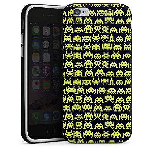 Apple iPhone X Silikon Hülle Case Schutzhülle Spaceinvaders Alien Motiv Silikon Case schwarz / weiß